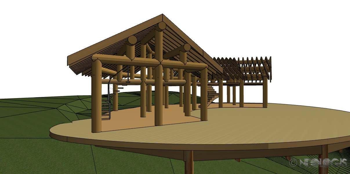 Structure en poteaux bois n ologis for Structure de bois